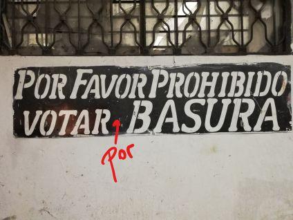 prohibido votar por basura
